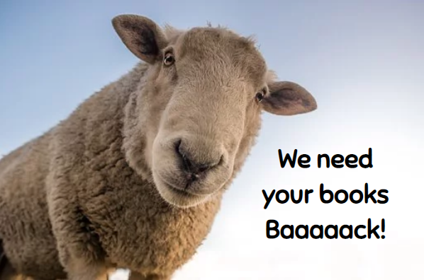 sheep saying we need your books baaaack