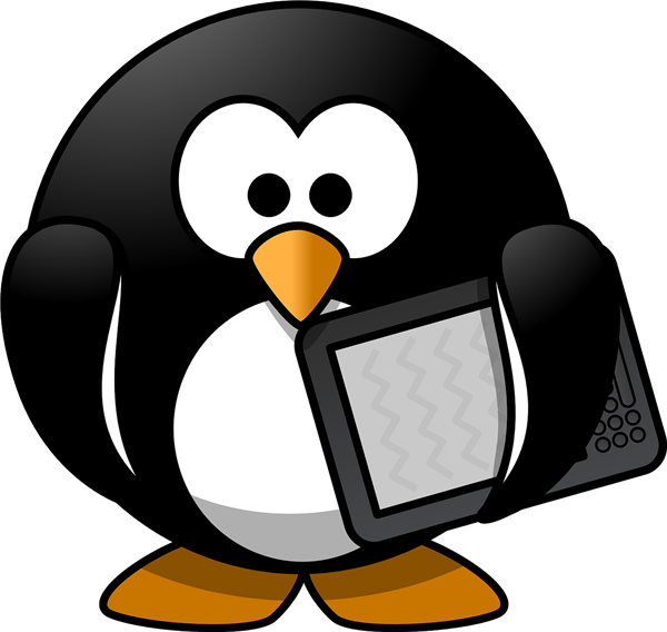 penguin with e-reader